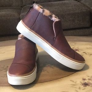 TOMS Dark Brown Leather & Faux Fur Paxton Slip-Ons